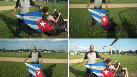 Silla de vuelo de parapente con cono inflable alegórico a bandera cubana